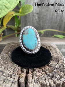 Navajo Sterling Silver & Kingman Turquoise Ring Size 6 1/2 RG32