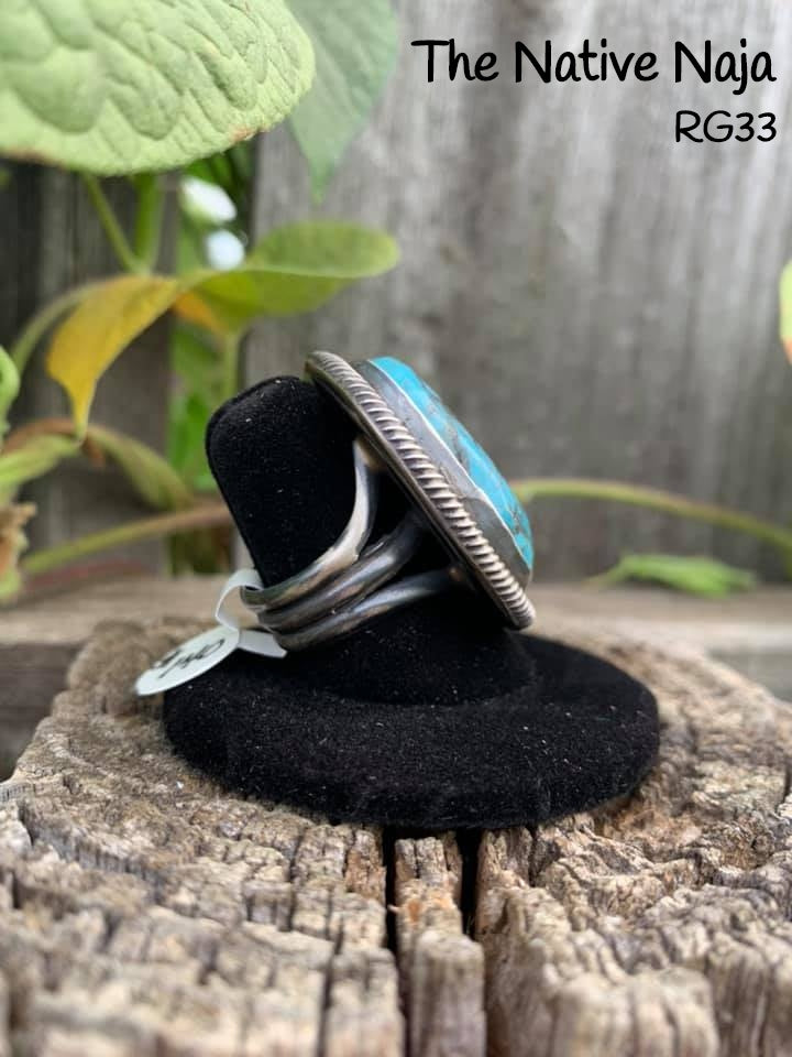 Genuine Navajo Sterling Silver & Kingman Turquoise Ring Size 7 1/4 RG33