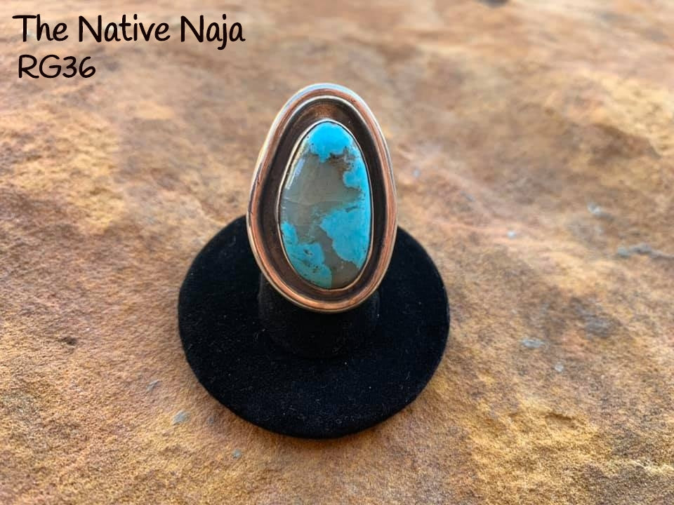 Genuine Navajo Sterling Silver & Kingman Turquoise Ring Size 6 3/4 RG36