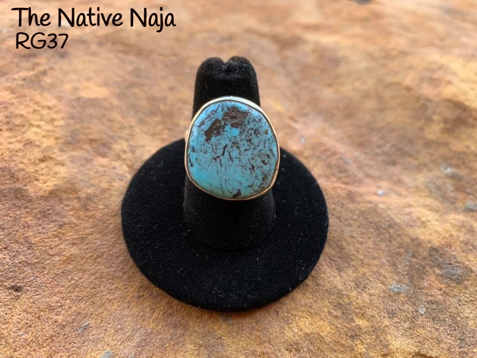 Genuine Navajo Sterling Silver & Kingman Turquoise Ring Size 6 1/4 RG37