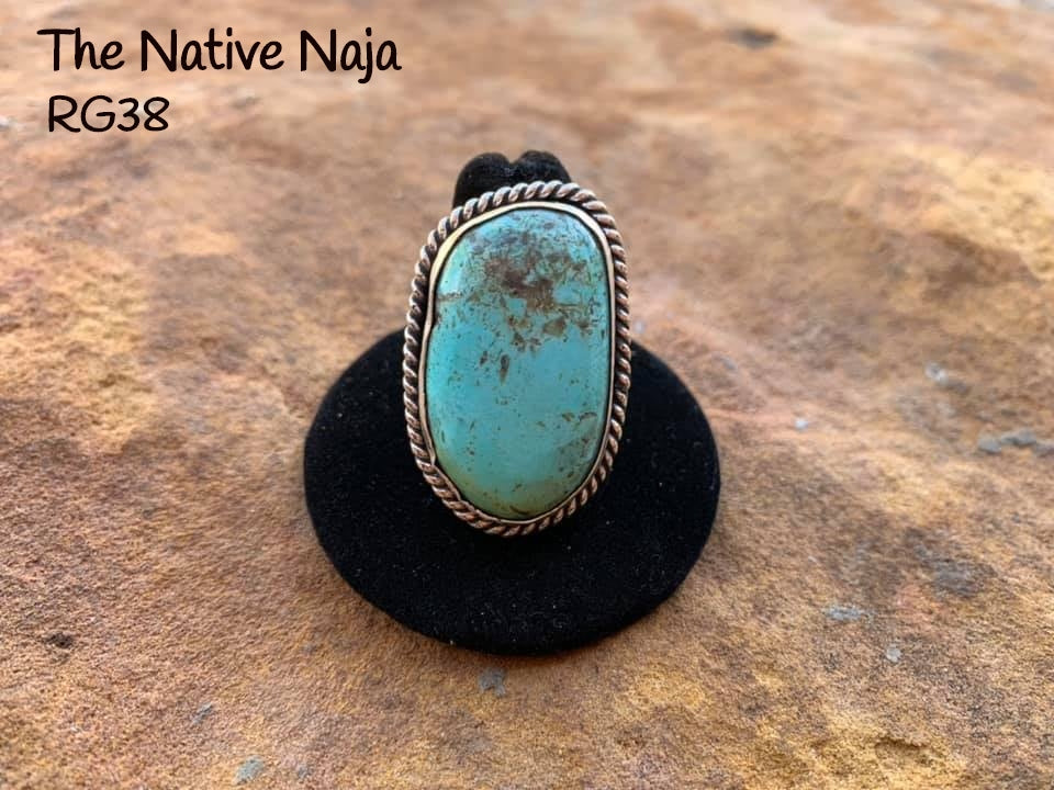 Genuine Navajo Sterling Silver & Kingman Turquoise Ring Size 7 1/2 RG38