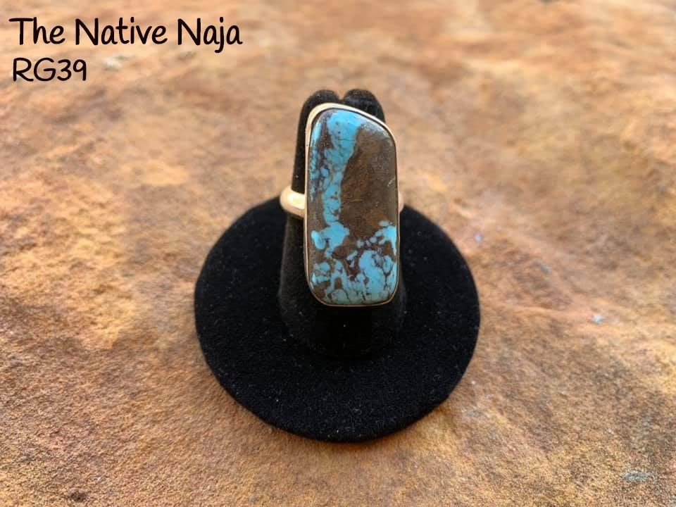 Navajo Genuine Sterling Silver & Kingman Turquoise Ring Size 6 RG39