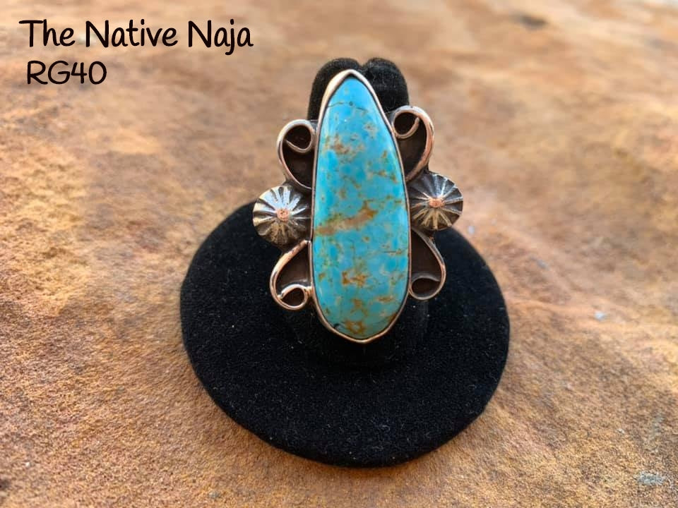 Navajo Genuine Sterling Silver & Kingman Turquoise Ring Size 7 1/4 RG40
