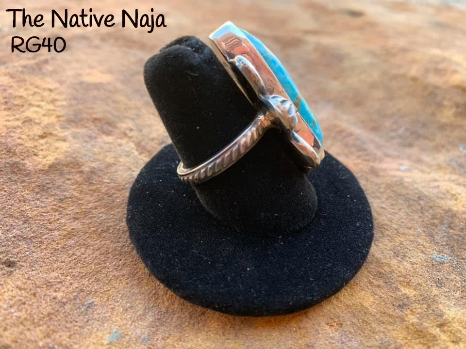 Genuine Navajo Sterling Silver & Kingman Turquoise Ring Size 7 1/4 RG40