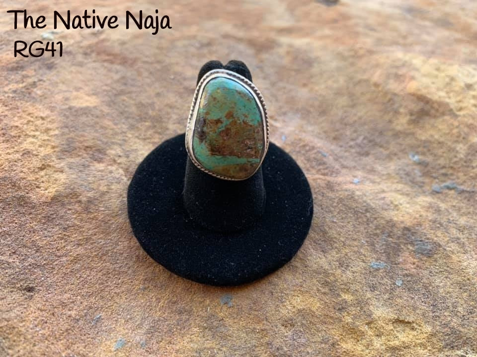 Navajo Genuine Sterling Silver & Green Kingman Turquoise Ring Size 5 1/4 RG41