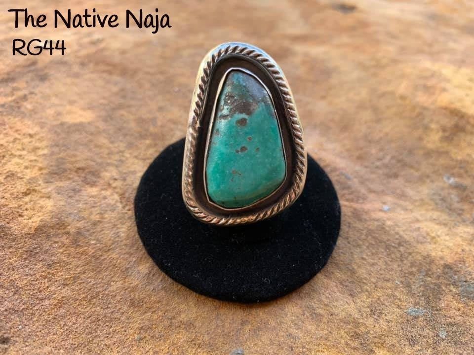 Navajo Genuine Sterling Silver & Kingman Turquoise Ring Size 7 1/2 RG44