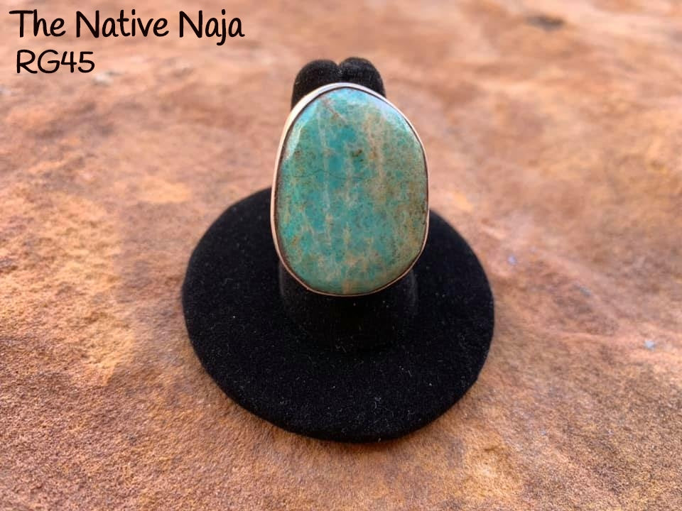Navajo Genuine Sterling Silver & Kingman Turquoise Ring Size 6 1/4 RG45