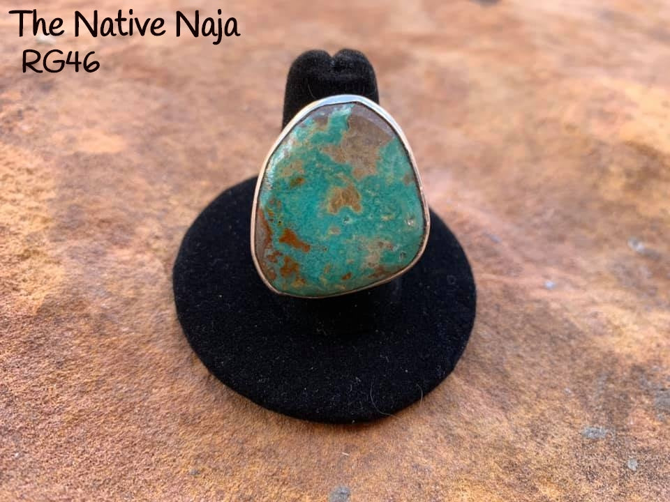 Navajo Genuine Sterling Silver & Green Kingman Turquoise Ring Size 7 1/2 RG46