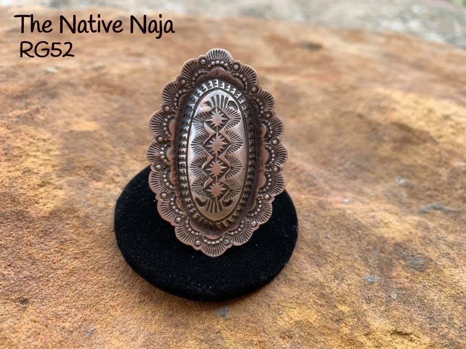 Large Genuine Navajo Sterling Silver Adjustable Oval Concho Ring RG52
