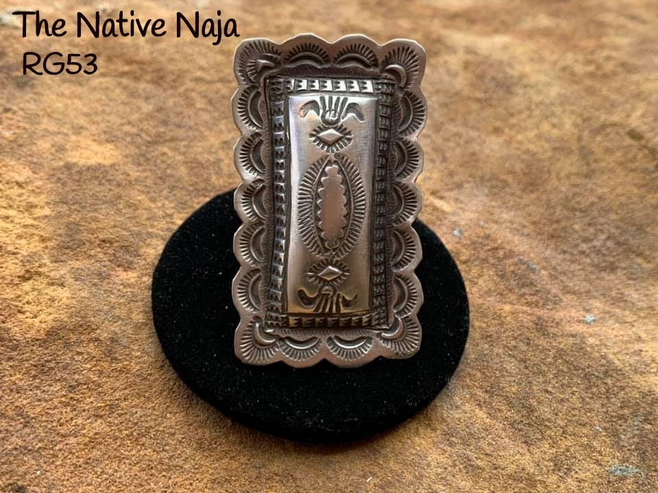 Large Navajo Genuine Sterling Silver Adjustable Rectangle Concho Ring RG53