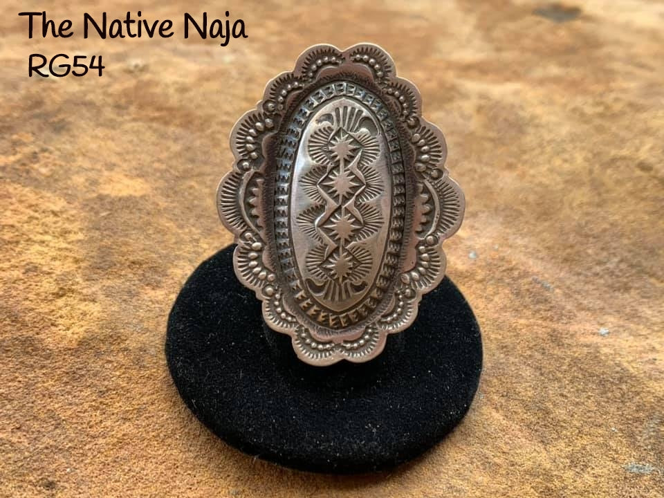 Large Navajo Genuine Sterling Silver Adjustable Oval Concho Ring RG54