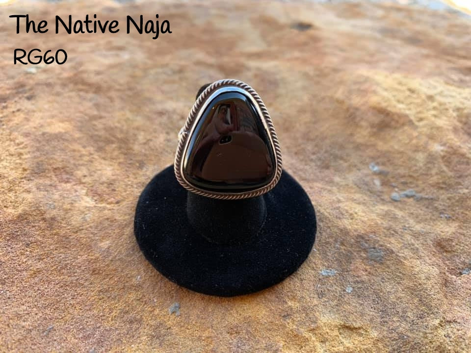 Genuine Navajo Sterling Silver & Black Onyx Ring Size 7 1/4 RG60