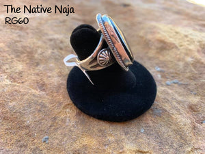 Navajo Genuine Sterling Silver & Black Onyx Ring Size 7 1/4 RG60