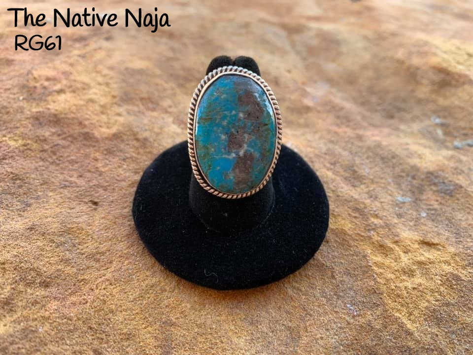 Genuine Navajo Sterling Silver & Kingman Turquoise Ring Size 6 1/2 RG61