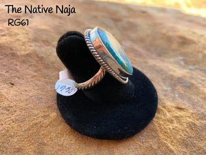 Navajo Genuine Sterling Silver & Kingman Turquoise Ring Size 6 1/2 RG61