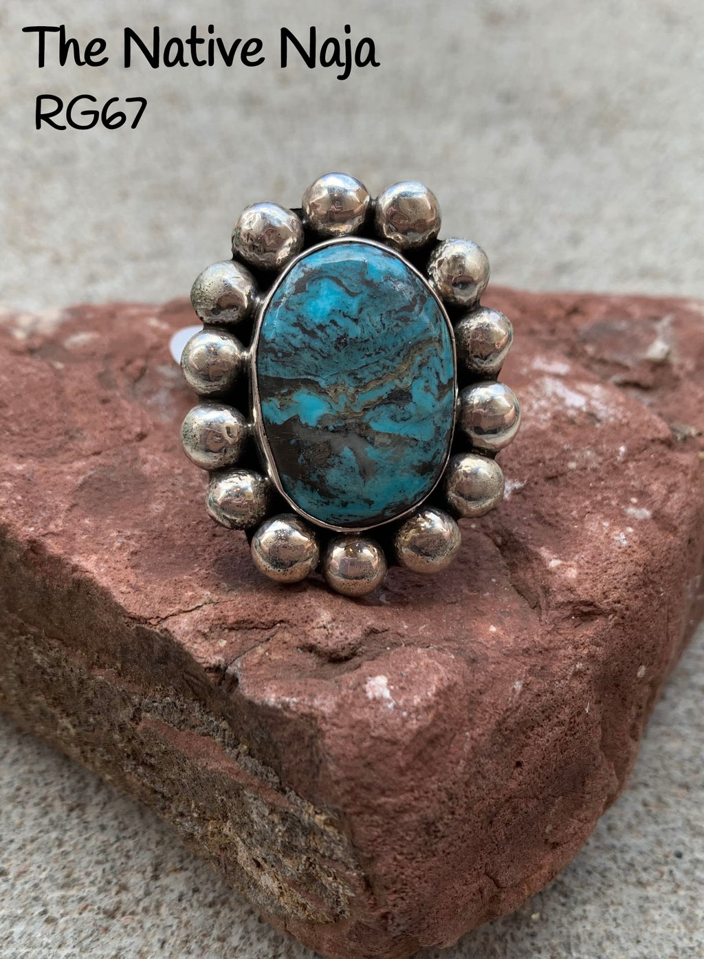 Genuine Navajo Sterling Silver & Kingman Turquoise Ring Size 6 1/2 RG67