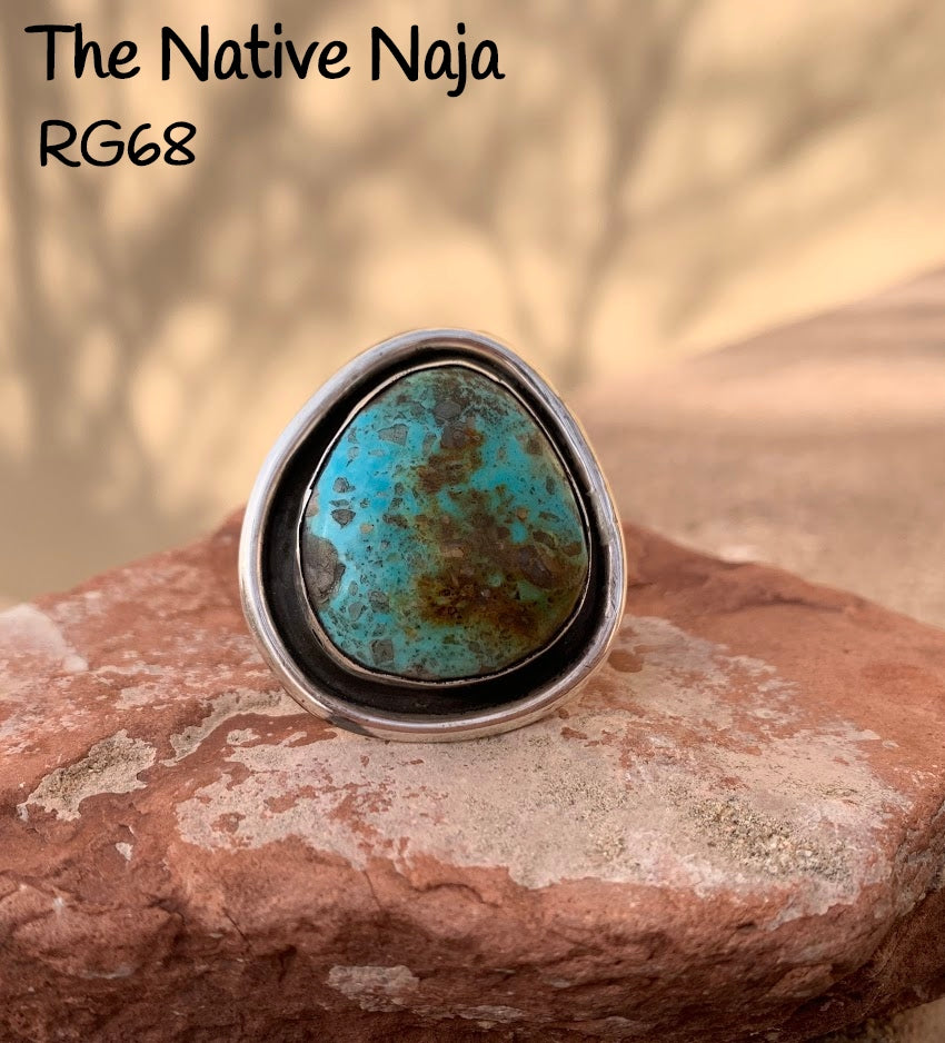Navajo Sterling Silver & Kingman Turquoise Ring Size 7 3/4 RG68