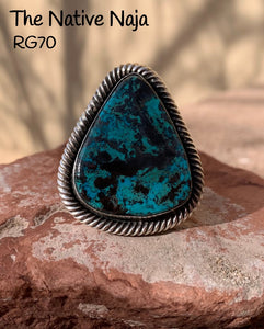 Large Navajo Genuine Sterling Silver & Kingman Turquoise Ring Size 8 1/4 RG70