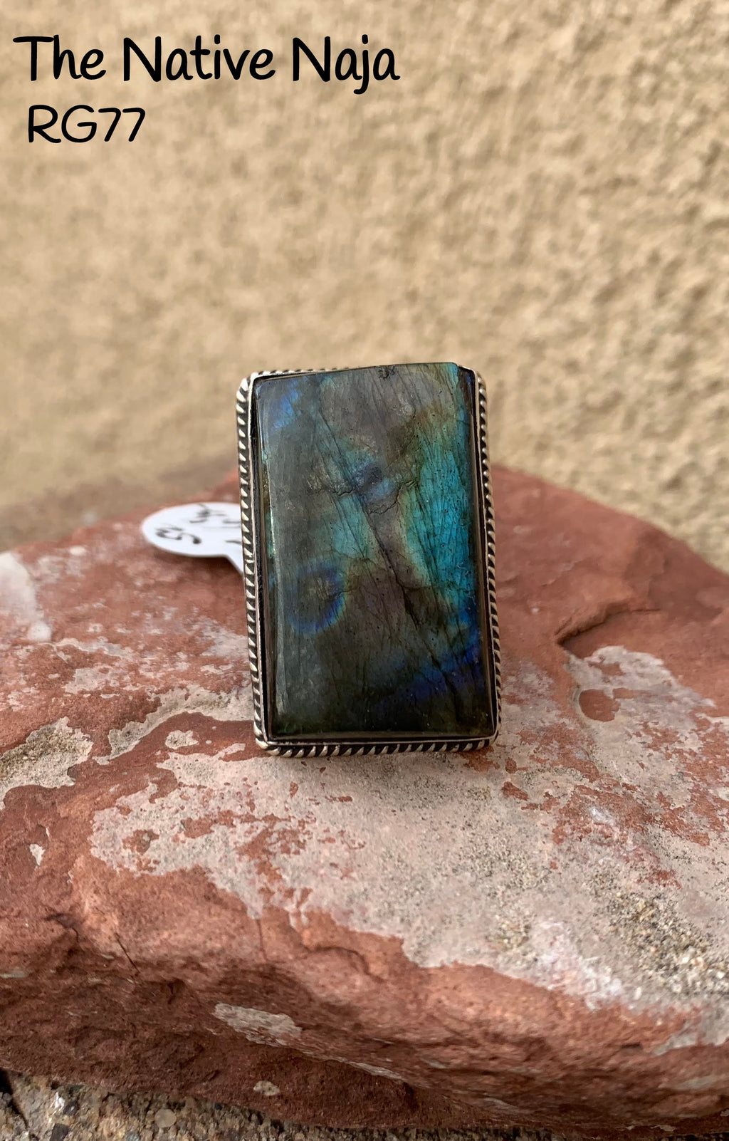 Genuine Navajo Labradorite & Roped Sterling Silver Ring Size 6 1/2 RG77