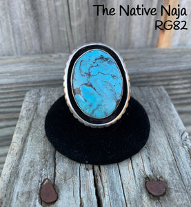 Large Navajo Genuine Sterling Silver & Kingman Turquoise Ring Size 7 RG82