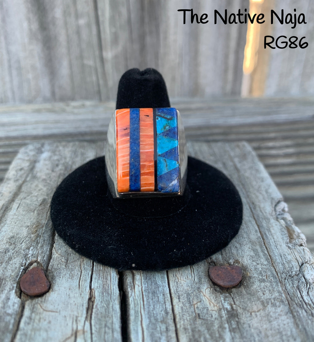 Mens Navajo Genuine Sterling Silver & Multi Stone Inlay Ring Size 10 1/4 RG86