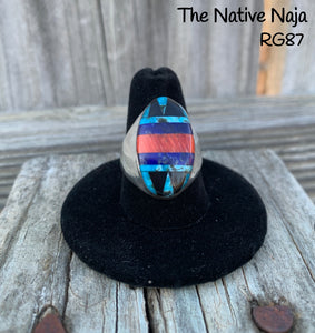 Mens Navajo Genuine Sterling Silver & Multi Stone Inlay Oval Ring Size 9 RG87