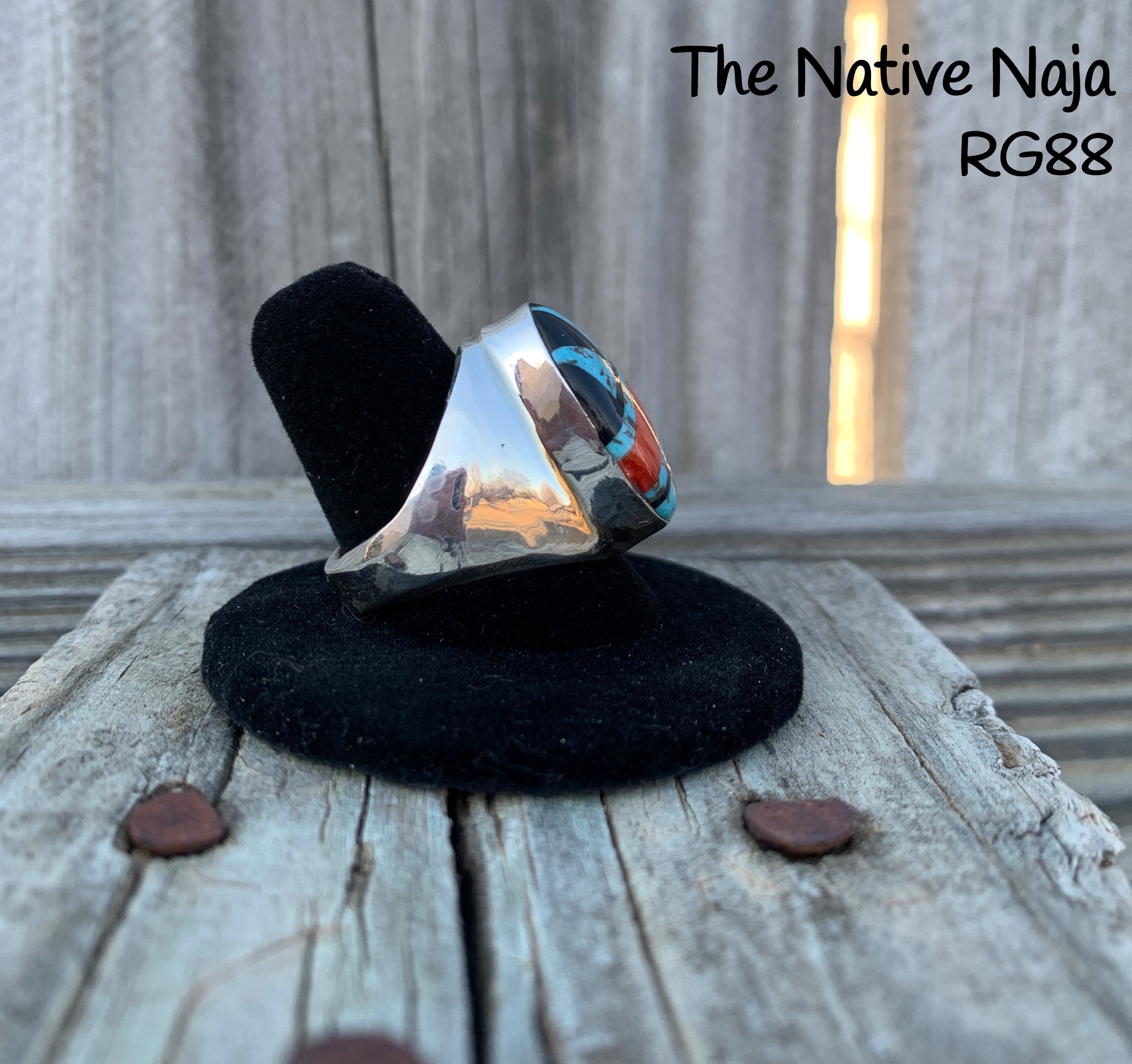 Mens Navajo Multi Stone Inlay & Sterling Silver Ring Size 9 RG88