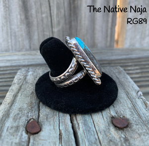 Mens Navajo Genuine Kingman Turquoise & Sterling Silver Ring Size 9 3/4 RG89
