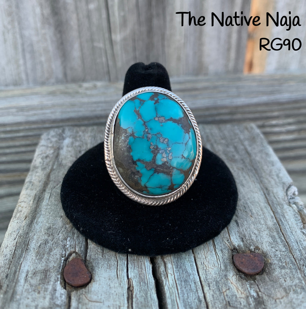 Large Mens Navajo Genuine Sterling Silver & Kingman Turquoise Ring Size 10 RG90
