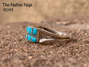 Dainty Zuni Inlay Kingman Turquoise & Sterling Silver Ring Size 6.5 RG93