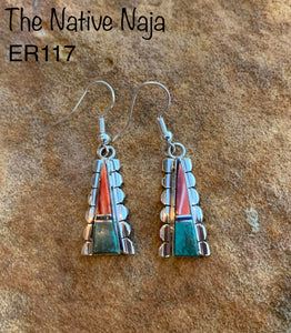 Navajo Inlay Sterling Silver Kingman Turquoise Spiny Oyster French Hook Earrings ER117
