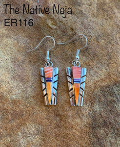 Navajo Inlay Sterling Silver and  Spiny Oyster French Hook Earrings ER116