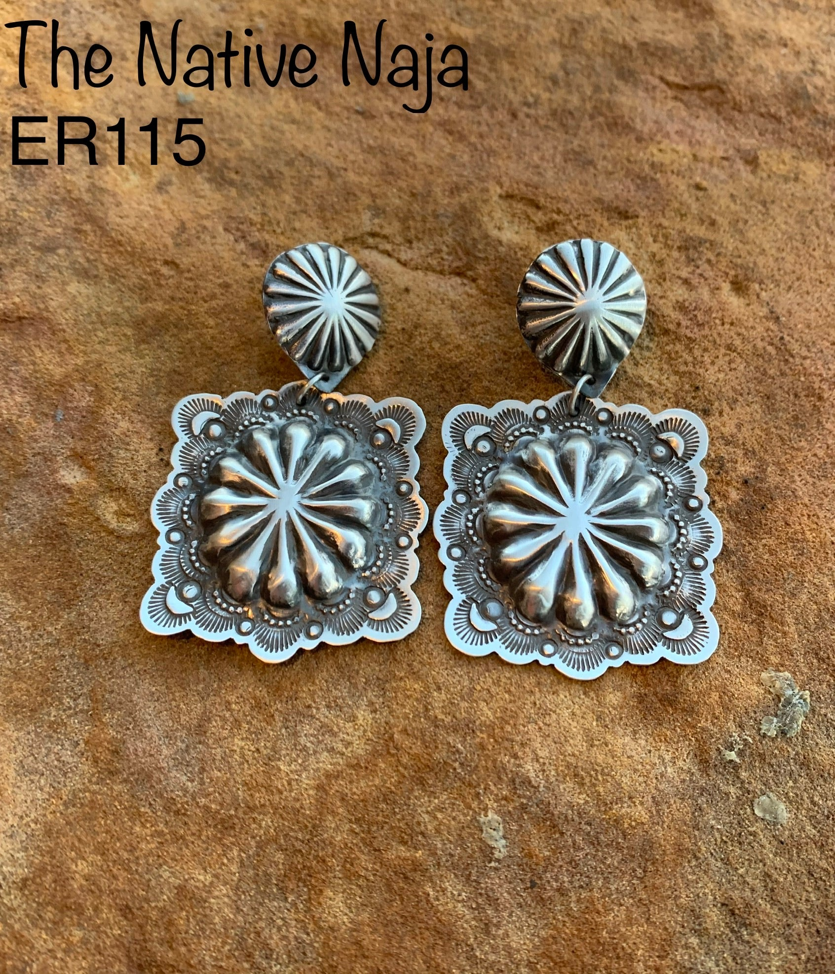 Navajo Sterling Silver Square Concho Earrings ER115
