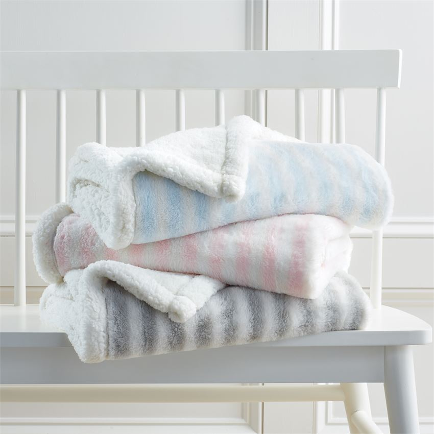 Personalized Striped Sherpa Blanket