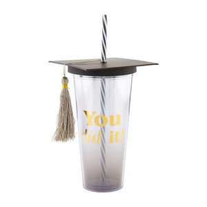 Graduation Travel Tumbler w/Straw
