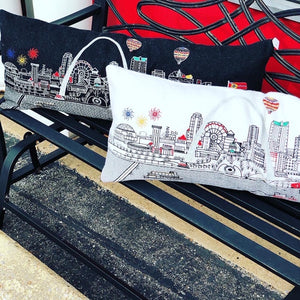St. Louis Skyline Pillow - Night