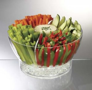 Personalized Acrylic Salad Bowl w/Divider and Salad Hands