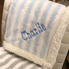Load image into Gallery viewer, Personalized Striped Sherpa Blanket