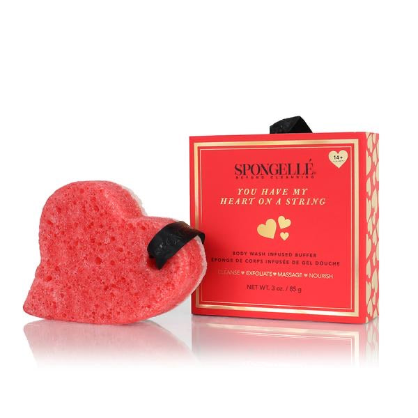 Body Wash Infused Buffer Sponge w/Gift Box - Heart On A String