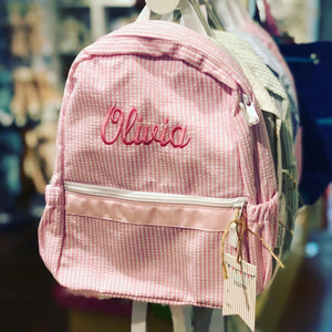 Personalized Mini Seersucker Backpack
