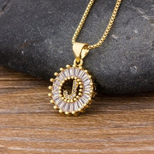 Load image into Gallery viewer, Sunburst Initial Pendant Necklace
