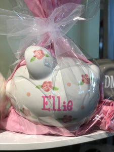 Personalized Floral Piggy Bank
