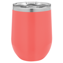 Load image into Gallery viewer, Personalized Stainless Steel Wine Tumbler w/Lid - 12oz.
