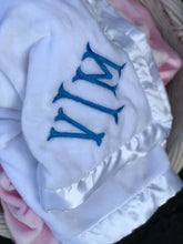Load image into Gallery viewer, Personalized Baby Blanket w/Satin Trim