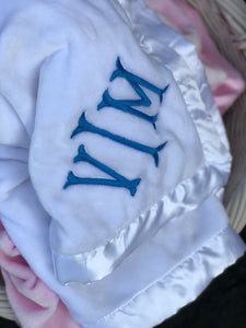 Personalized Baby Blanket w/Satin Trim