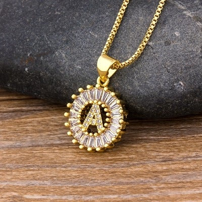 Sunburst Initial Pendant Necklace