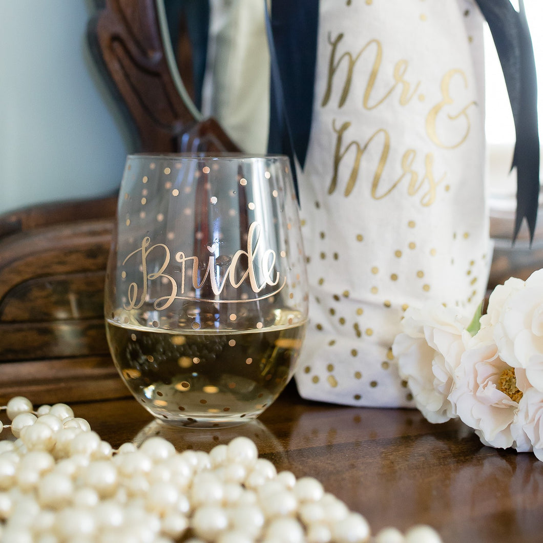 Stemless Wedding Wine Glass - Rose Gold Dots