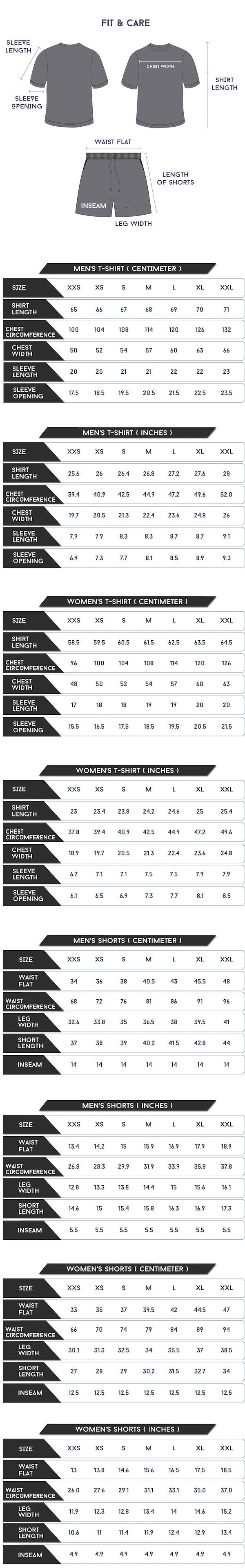 Equilibrium Sleep Set dimensions and size chart