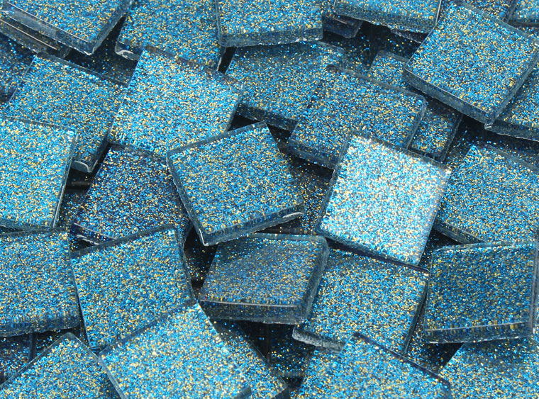 20 MM Aquamarine Glitter Mosaic Tile - The Artsy Soul