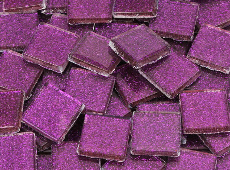 20 MM Aubergine Glitter Mosaic Tile - The Artsy Soul